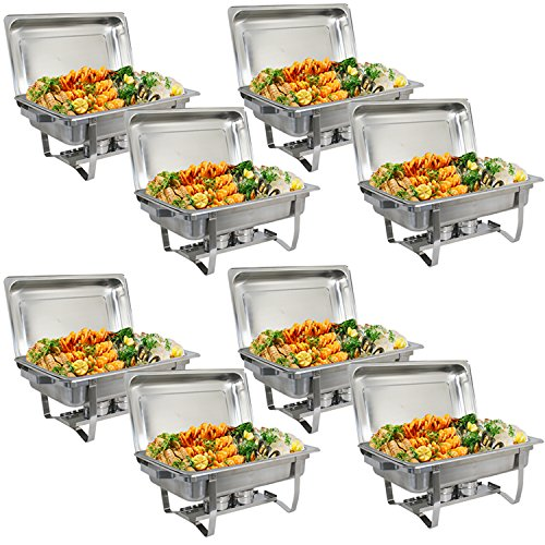 ZenChef Upgraded 8 Qt Stainless Steel Chafer, Full Size Chafer, Chafing Dish w/Water Pan, Food Pan, Alcohol Furnace and Lid (Pack of 8)