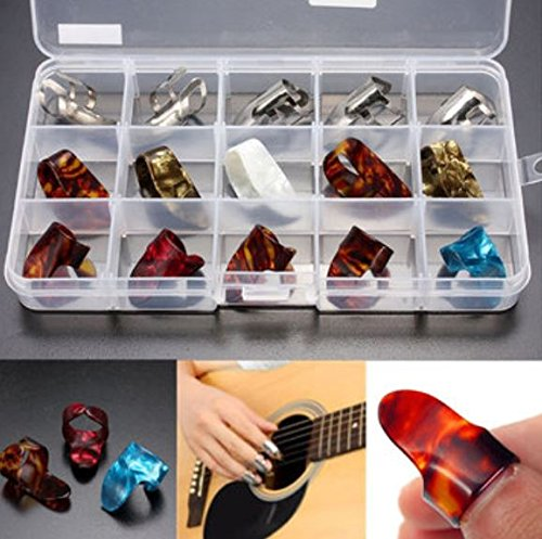 15pcs Stainless Steel Celluloid Thumb Finger Guitar Picks with Case - 9