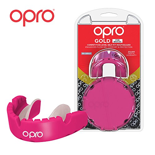 OPRO Gold Level Mouthguard for Braces for Ball, Combat and Stick Sports - 18 Month Dental Warranty (for Ages 7+) | Pink