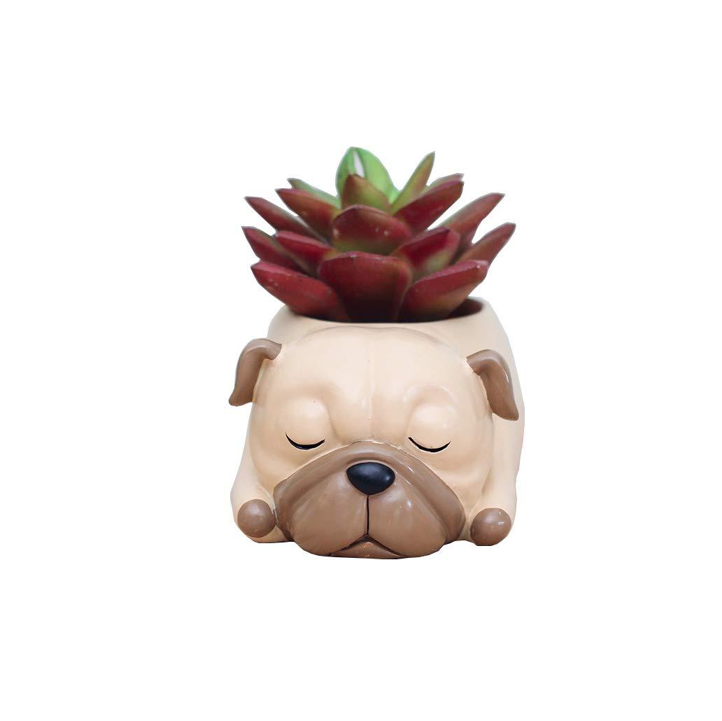 Youfui Home Decor Pot, Animal Succulent Planter Flowerpot for Home Office Desk Decoration Sleep Pug