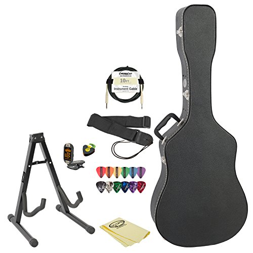 Acoustic Electric Guitar Accessory Pack with Hard Case, Stand, Strap, Cable, Pick Holder, Picks, Tuner and Polish Cloth