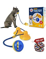 Gnawtee Pets Smart Dog Tug Toy with Double Suction Cups - Durable Teething Toy for Puppies and Stimulating Dog Toy for Aggressive Chewers Heavy Duty