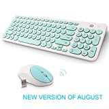 Wireless Keyboard and Mouse Combo, FD iK6630 2.4GHz Cordless Cute Round Key Set Smart Power-saving Whisper-Quiet Slim Combo for Laptop, Computer,TV and Mac (Mint Green & White)
