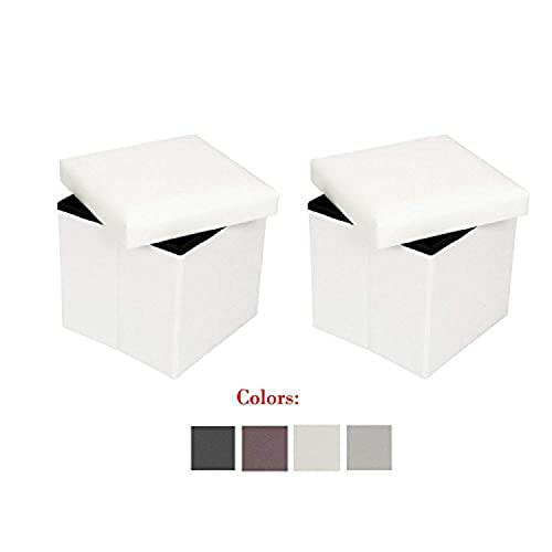 Bonnlo 2 PCS 15 Faux Leather Folding Storage Ottoman Cube Bench Foot Rest Seat Coffee Table White