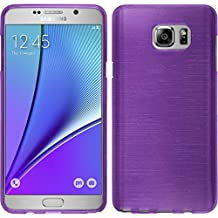 Silicone Case for Samsung Galaxy Note 5 - brushed purple - Cover PhoneNatic + protective foils