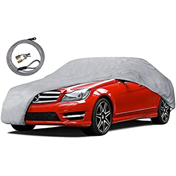 "Motor Trend CC-341+LOCK AUTO ARMOR All Weather Proof Universal Fit Car Cover - UV, Water Proof (Gray) (Fits up to 157"")"