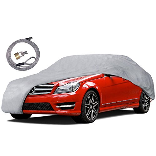 Motor Trend CC-343+LOCK Auto Armor All Weather Proof Universal Fit Car Cover - UV, Water Proof (Gray) (Fits up to 190