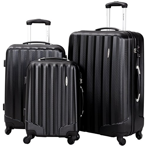 Price comparison product image Lightweight 3 Piece Luggage Sets, Durable Hardshell Spinner Suitcase with TSA Approved Locks