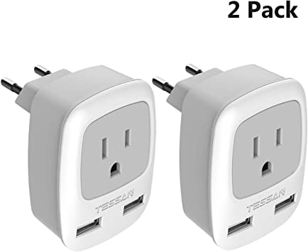 Type C USA to The Most of Europe 2 Prong Power Charger Adapter Kit- Dual Inputs Outlets and Compact for Europe Europe Travel Universal Plug Adapter - 3 Pack