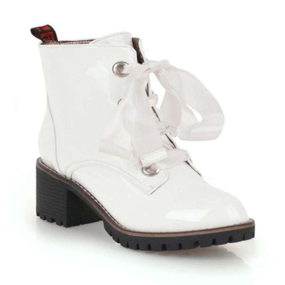CITW Herbst Damenstiefel Großformat Damenstiefel Spitzenstiefel Martin Stiefel Wasserdichte Plattform,Weiß,UK5 EUR39