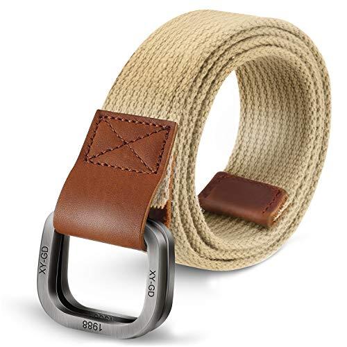 ITIEZY Men's Canvas Belt Military Style Double D-Ring Buckle Casual Webbing Belt (Canvas Cotton Belt)