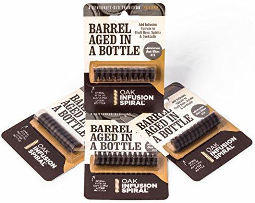 4 Pack - Barrel Aged in a Bottle Oak Infusion Spiral - Barrel Age Whiskey Gin Rum Wine Beer Aged Liqueur