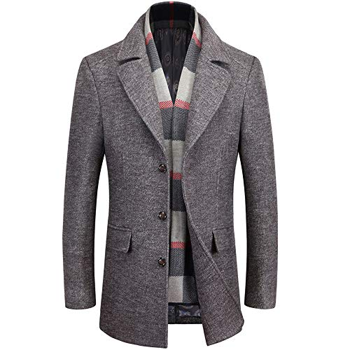 WULFUL Men's Wool Trench Coat Winter Slim Fit Pea Coat with Free Removable Plaid (Style Slim Fit Wool)
