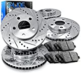 Full Kit eLine Drilled Slotted Brake Rotors & Ceramic Brake Pads Optima,Sonata