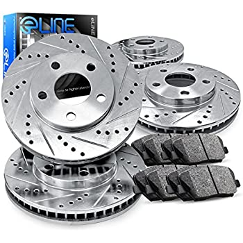 Fit 2002-2003 Lexus RX300 Front Rear PSport Drill Slot Brake Rotors+Ceramic Pads