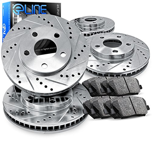 2003-2008 Honda Pilot Full Kit eLine Drilled Slotted Brake Rotors & Ceramic Pads (2005 Full Kit)