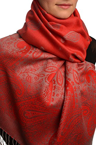 Small Paisley On Red Pashmina Feel With Tassels - Rouge ?charpe Taille Unique - 70cm x 180cm