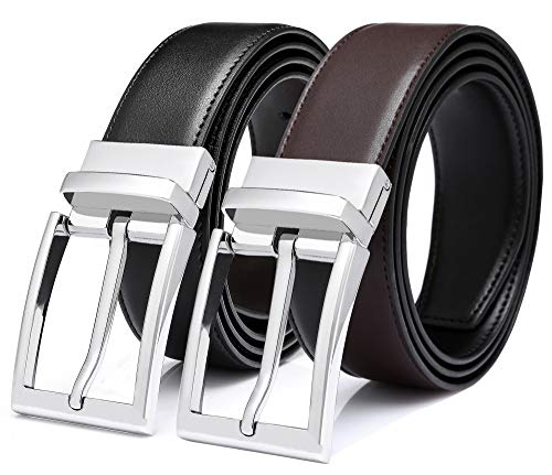 [해외]SUNAHEAD 리버서블 가죽 드레스 벨트 남성용 1 13 와이드 클래식 싱글 프롱 회전 버클 / SUNAHEAD Reversible Leather Dress Belt for Men 1 13 WideClassic Single Prong Rotating Buckle, BlackBrown 120cm(Cut-to-Fit Waist size 36-40)