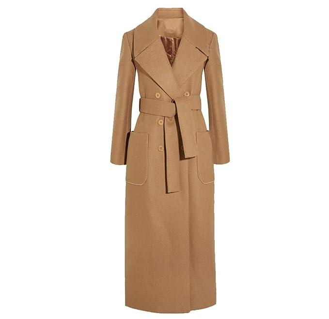 YuanDian Donna Lungo Doppio Petto Risvolto Eleganti Colori Solidi Giacca  Cappotti Cammello S 82e11f954613