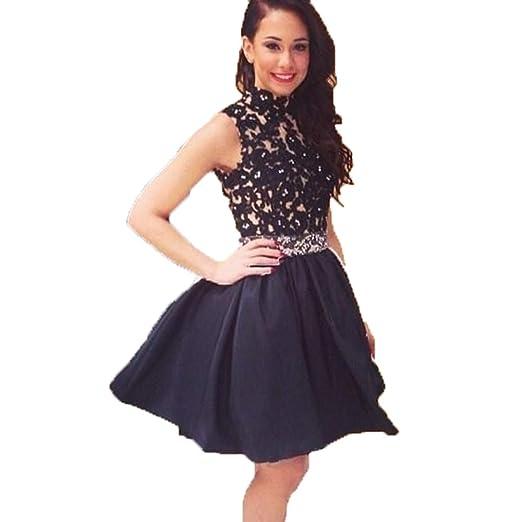 145a93a97c6 Dislax High Neck Lace Satin Homecoming Dresses Short Prom Dress Black US 2