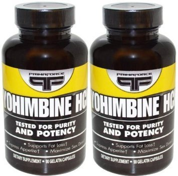 Yohimbine Hcl suppléments Primaforce 90 Vegetarian Capsules (Pack 2)