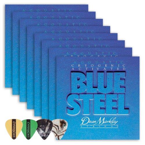 Dean Markley 2034 Blue Steel LT Acoustic Guitar Strings 8-Pack (0.11-.052) Includes Guitar Picks
