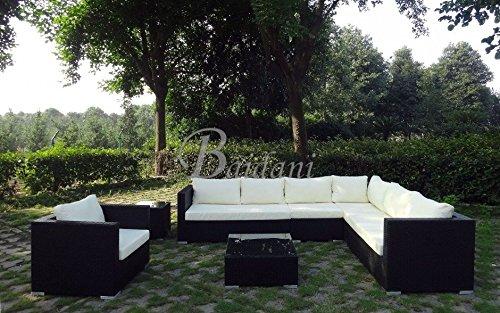 Baidani Rattan Garten Lounge Garnitur Destiny Schwarz Günstig