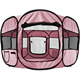 "OxGord 8-Panel Pop-Up Tent with Carry Bag Portable PlayPen for Pets, 48 by 48 by 25"", Pink"