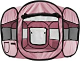 Paws & Pals 8-Panel Pop-Up Tent with Carry Bag Portable PlayPen for Pets, 48 by 48 by 25'', Pink