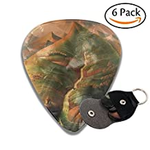 Janvonne Ocean Sprouts 351 Shape Classic Celluloid Guitar Picks for Guitar Bass - 6 Pack .71mm