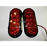 """1 Pair Trailer RED LED Stop Turn Tail Light 6"""" Oval Surface Mount 10 LED Optronics"""