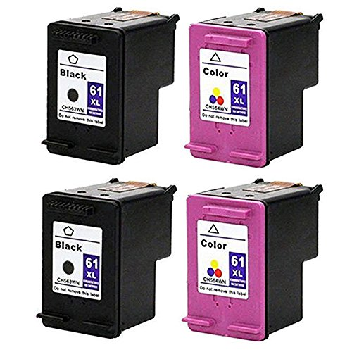 RIGHTINK 4 Pack 61 XL 61 (Black Tri-color) Remanufactured...