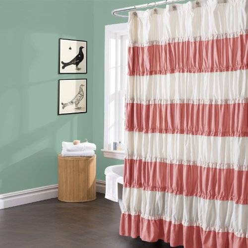 Lush Decor Isla Shower Curtain 72 By Inch Coral