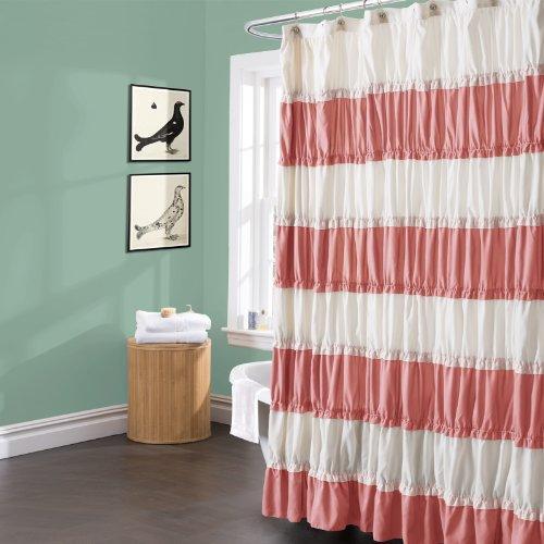 Lush Decor Isla Shower Curtain, 72 by 72-Inch, Coral