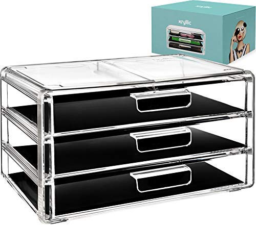 Acrylic Cosmetic Drawer Storage Organizers - Clear countertop 3 Drawers Box Ideal Any Vanity Bathroom! Makeup Organizer Make up Brush Palette Lip Gloss Cream Perfect Cosmetics case Holder!