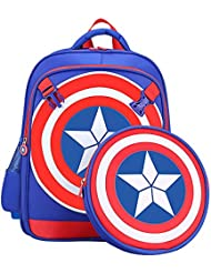 SUNBABY Boys Backpack Spiderman Fans Gift Waterproof Comic School Bag With Lunch Kit (Captain-Blue, One_Size)