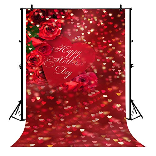 7x5ft Happy Mother's Day Postcard Red Roses Love Heart Polyester Photography Backdrop Studio Prop Photo Background