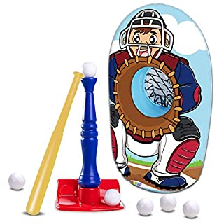 JOYIN T-Ball Baseball Toy Set Including Tee Ball Set, Baseball Bat and Inflatable Baseball Catcher for Outdoor Sports Baseball Toy Yard Game for Kids