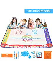 Fansteck Water Magic Drawing Mat, Updated Larger Size Water Doodle Mat, No Mess Painting Pad with Abundant Funny Accessories, for Boys, Girls, Kids, Toddlers 3 4 5 6 + Years Old