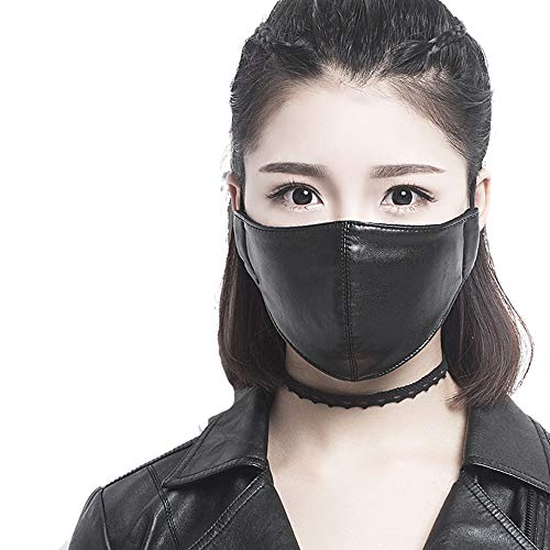 D & D Exhaust Motorcycle Biker Mask PU Synthetic Leather Face Mouth Mask Muffle Daily Protection (Black) ()
