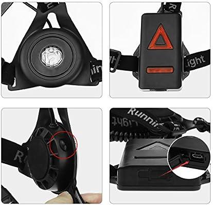 BACKTURE Luz Correr, Luz Frontal Running Recargable USB 3 Modos ...