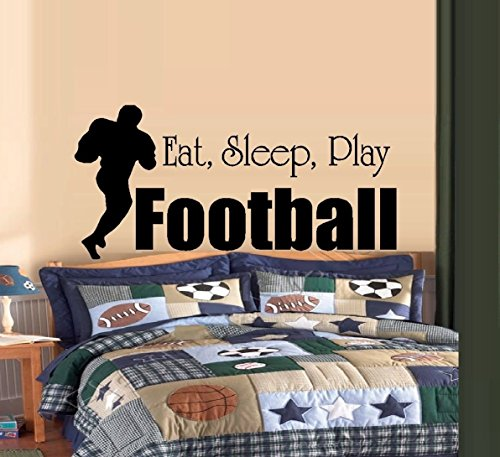 "EAT, SLEEP, PLAY FOOTBALL #2 ~ DECAL, HOME DECOR 13"" X 27"" LRG"