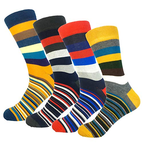 4 Pairs Women Colorful Stripe Cotton Novelty Crew Socks Casual Dress Sock (Colorful 1) by FMJY