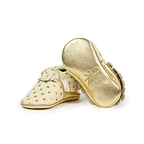 Freshly Picked Soft Sole Leather Baby Moccasins Heirloom in Cream and Gold Size 3