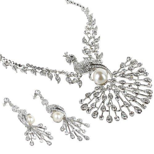 Diy Halloween Costumes Black Swan (Swarovski Crystals Jewellery Set, Peacock Pendant Necklace & Matching Earrings Set - Silver, Janeo Jewellery)