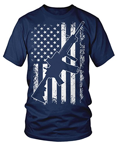 Amdesco Men's White Distressed American Flag with AR-15 T-Shirt, Navy Blue XL