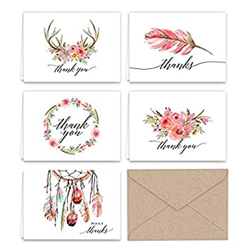 amazon com boho essence themed thank you note cards and kraft