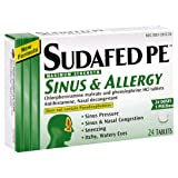 Sudafed PE Sinus & Allergy, Maximum Strength, 24-Count Tablets (Pack of 4)