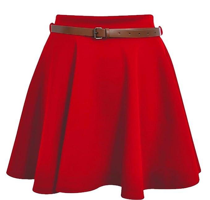 77ad8f1222825b Frauen Skater Rock Damen Gürtel Plissee Mini Casual Flared Party Kleider  8–14 Gr. 36, Rot - Rot: Amazon.de: Bekleidung