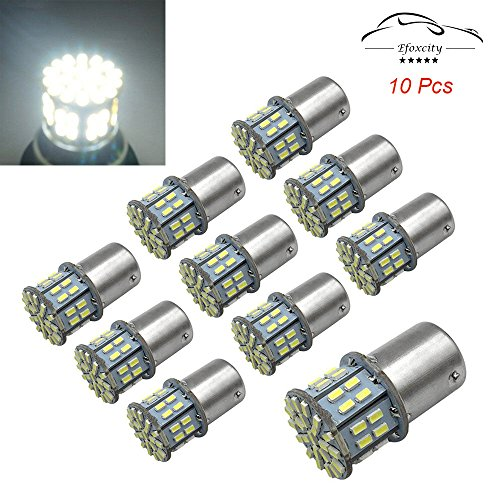 Efoxcity 12V 1156 10 Pcs Bright 1156 1141 1003 50-SMD White LED Bulbs For Car Rear Turn Signal lights Interior RV Camper